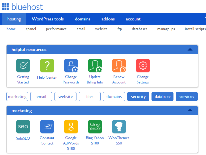 Bluehost Dashbourd