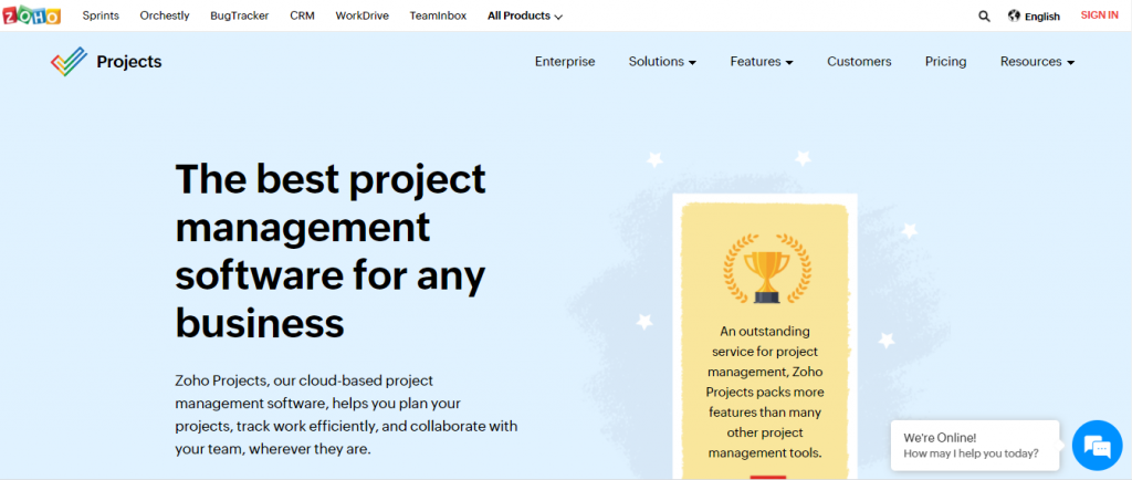 Zoho Projects home